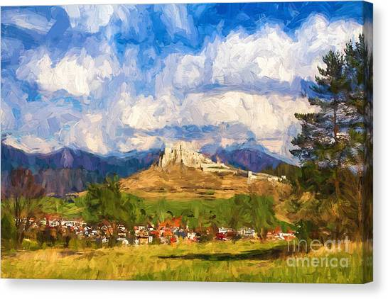 Castle Above The Village Canvas Print