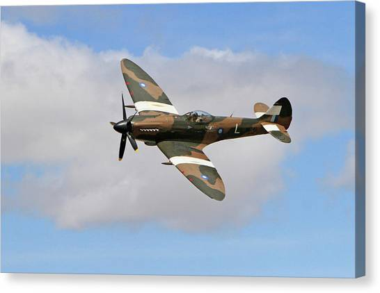 Wii Canvas Print - Spitfire Against The Clouds by Shoal Hollingsworth