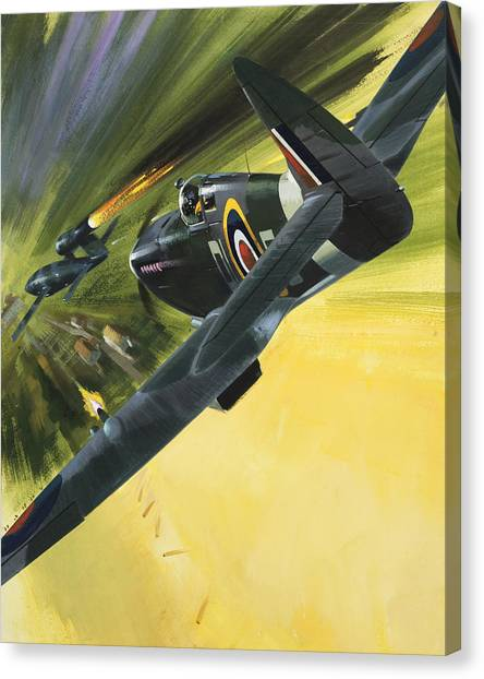 Wii Canvas Print - Spitfire And Doodle Bug by Wilf Hardy