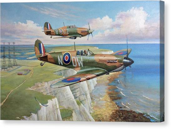Hurricanes Canvas Print - Spitfire And Hurricane 1940 by Mike Jeffries
