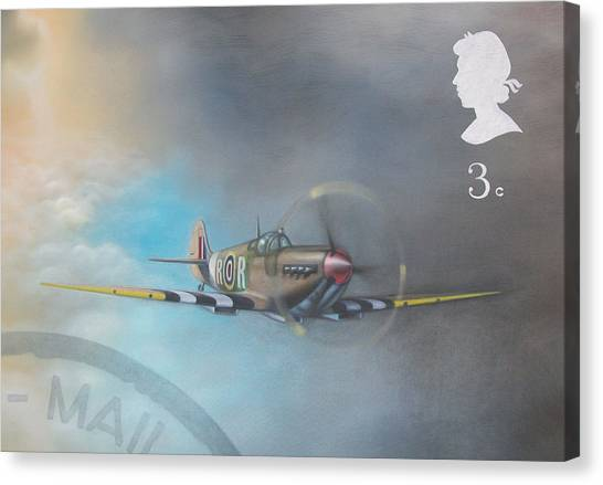 Spitfire Postage Stamp Canvas Print by Riek  Jonker