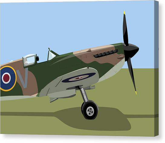 Air Force Canvas Print - Spitfire Ww2 Fighter by Michael Tompsett