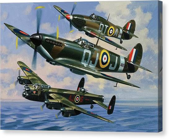 Wii Canvas Print - Spitfires by Wilf Hardy