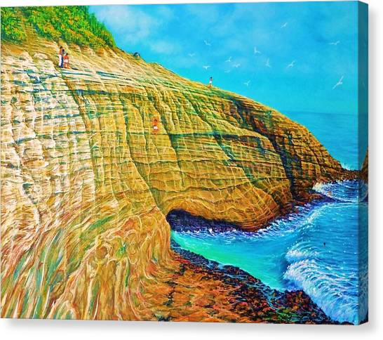 Spitting Caves Of Portlock Point Canvas Print