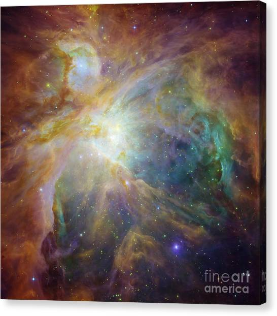 Spitzer And Hubble Create Colorful Masterpiece Canvas Print