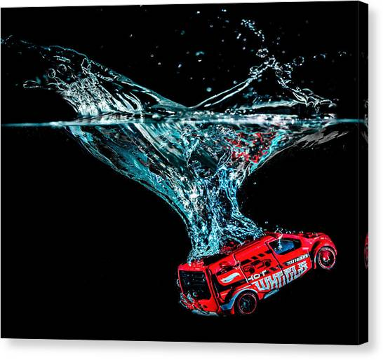 Canvas Print featuring the photograph Splash Down by Nick Bywater