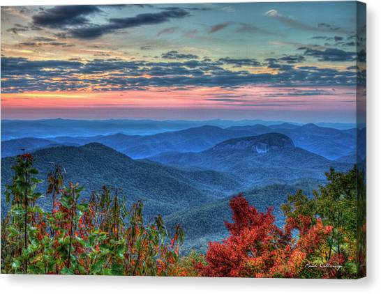 Pisgah National Forest Canvas Print - Splash Of Color Looking Glass Rock Sunrise Art by Reid Callaway