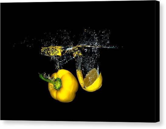 Splash Of  Pepper And Lemon Canvas Print