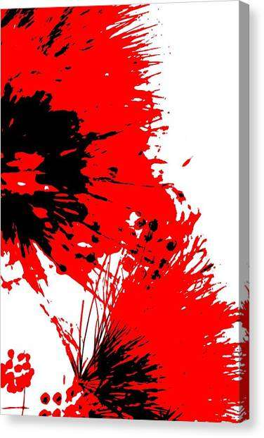 Splatter Black White And Red Series Canvas Print