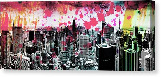 Empire State Building Canvas Print - Splatter Pop by Az Jackson