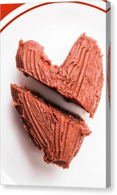Division Canvas Print - Split Hearts Chocolate Fudge On White Plate by Jorgo Photography - Wall Art Gallery
