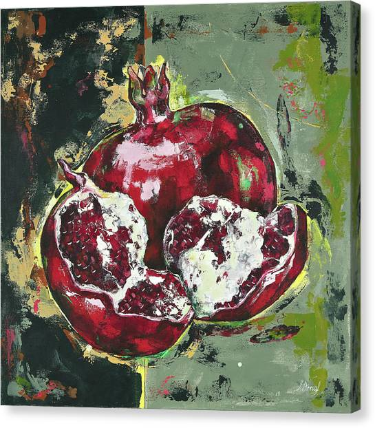 Split Pomegranate Canvas Print