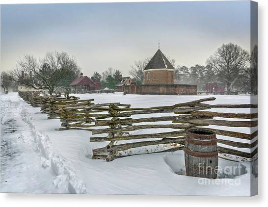 Split Rail Fence In Front Of Colonial Williamsburg Magazine Canvas Print