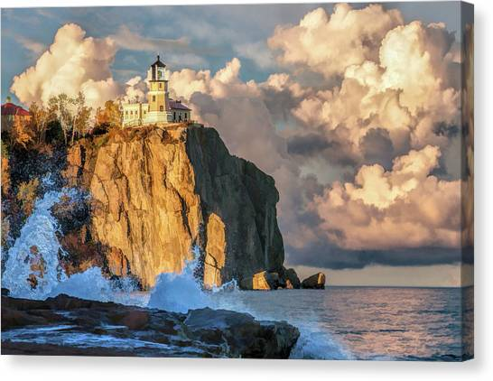 Canvas Print featuring the painting Split Rock Lighthouse by Christopher Arndt