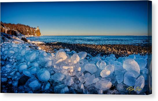 Split Rock Lighthouse With Ice Balls Canvas Print