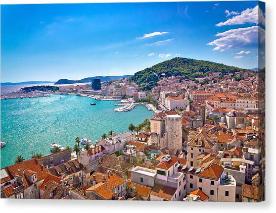 Split Waterfront And Marjan Hill View Canvas Print