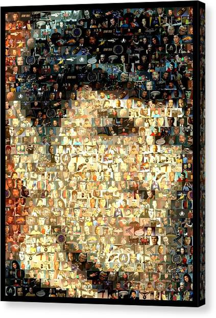 Spock Canvas Print - Spock Star Trek Mosaic by Paul Van Scott