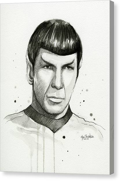 Spock Canvas Print - Spock Watercolor Portrait by Olga Shvartsur