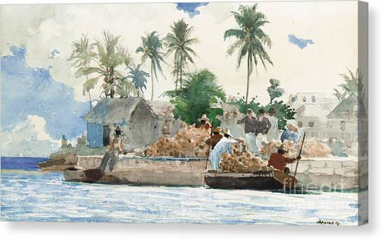 Bahamas Canvas Print - Sponge Fisherman In The Bahama by Winslow Homer