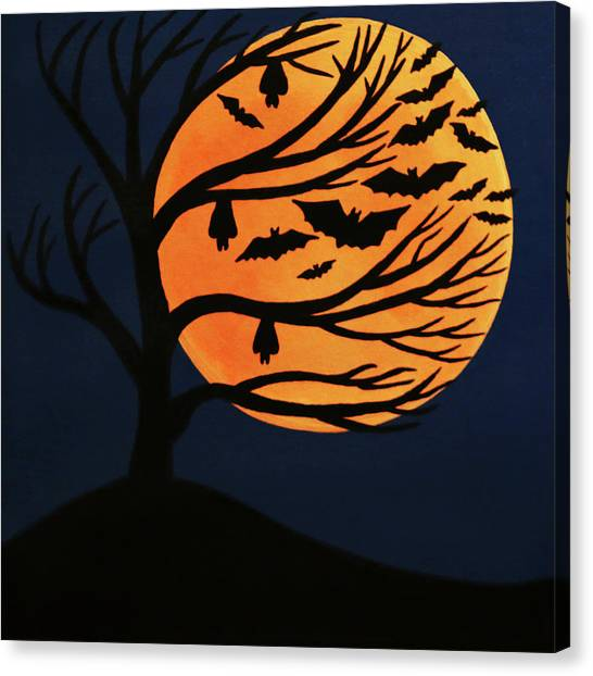 Spooky Bat Tree Canvas Print