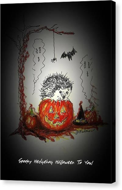 Spooky Hedgehog Halloween Canvas Print