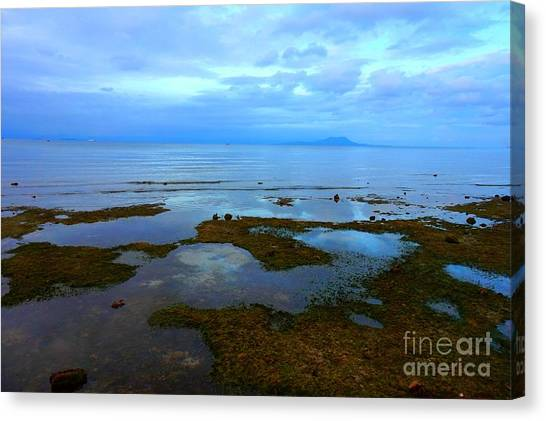 Spooky Morning Tide Receded From Beach Canvas Print