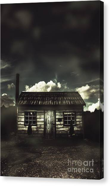 Haunted House Canvas Print - Spooky Old Abandoned House In Dark Forest by Jorgo Photography - Wall Art Gallery