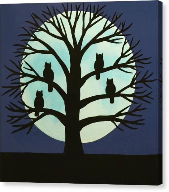 Spooky Owl Tree Canvas Print
