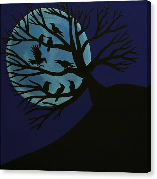 Spooky Raven Tree Canvas Print
