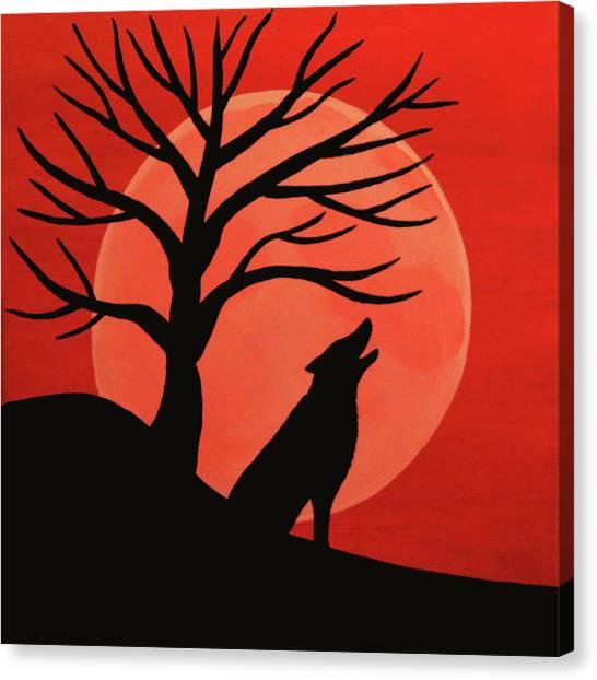 Spooky Wolf Tree Canvas Print