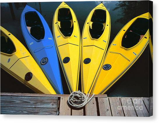 sports boat photography - Yellow Kayaks Canvas Print
