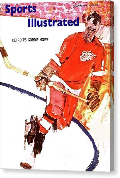 Gordie Howe Canvas Print - Sports Illustrated Cover, Gordie Howe, March 10, 1964 by Thomas Pollart