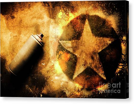 Graffiti Canvas Print - Spray Can With Army Star Graffiti by Jorgo Photography - Wall Art Gallery