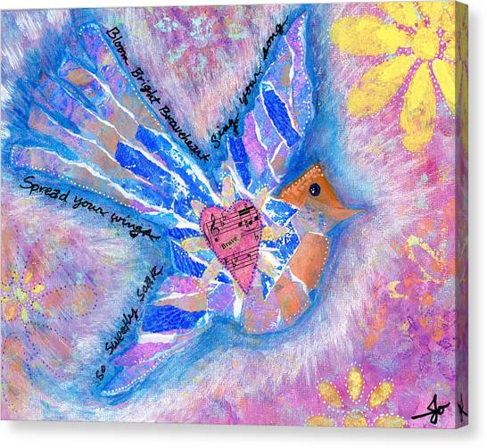 Songbirds Canvas Print - Spread Your Wings Braveheart by Julia Ostara From Thrive True dot com