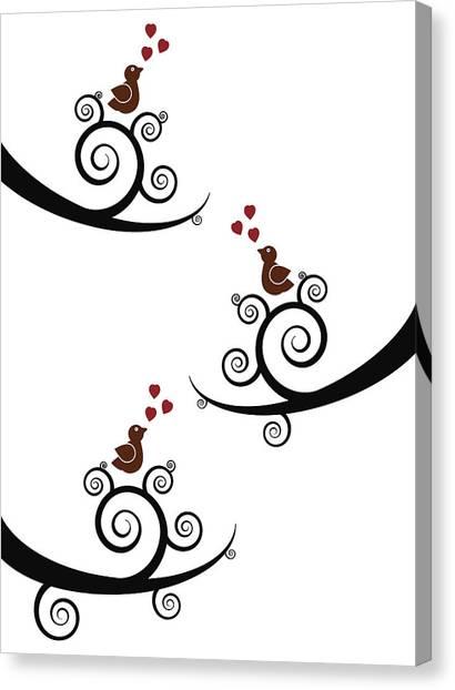 Lovebirds Canvas Print - Spring Birds by Frank Tschakert