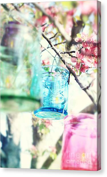 Spring Blossoms And Candles Canvas Print