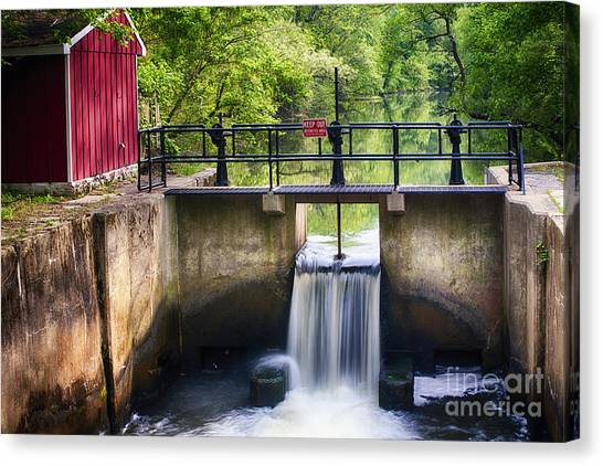 Spring Canal Lock Scene  Canvas Print by George Oze