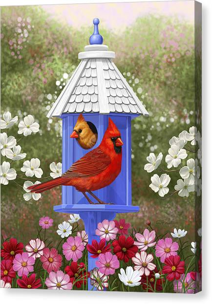 Dogwood Canvas Print - Spring Cardinals by Crista Forest