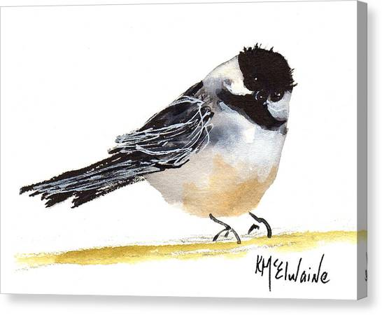 My Little Chickadee Bird Art Watercolor And Gouache And Ink Painting By Kmcelwaine Canvas Print