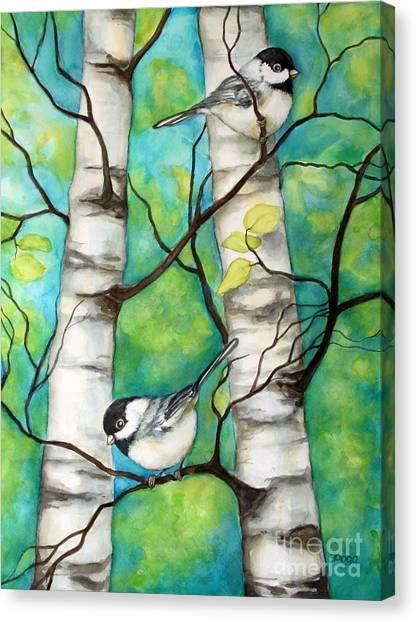 Spring Chickadees Canvas Print