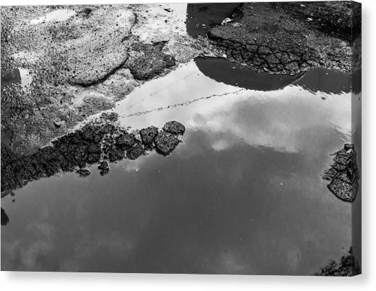 Spring Clouds Puddle Reflection Canvas Print