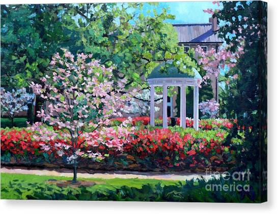 University Of North Carolina Chapel Hill Canvas Print - Spring Color At The Old Well by David Gellatly