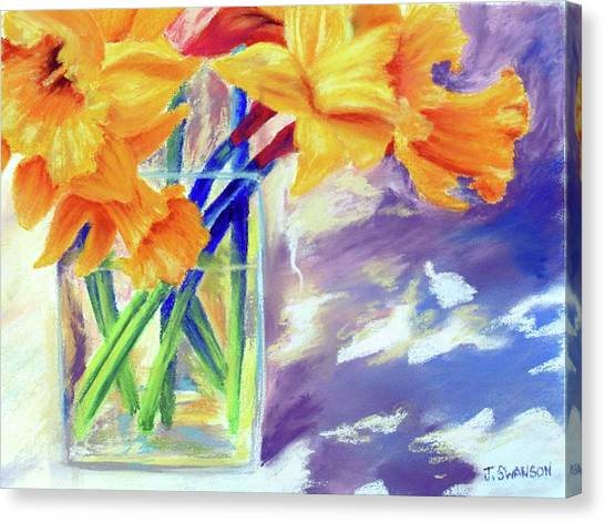 Spring Daffodils Canvas Print by Joan Swanson