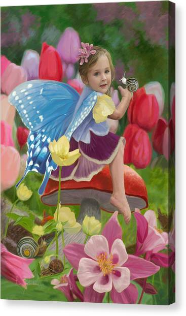 Fairy Canvas Print - Spring Fairy by Lucie Bilodeau