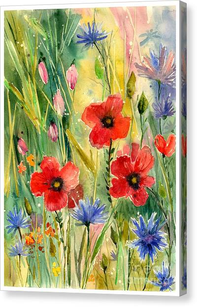 Wind Farms Canvas Print - Spring Field by Suzann's Art
