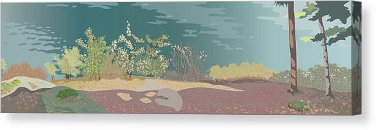 Spring Flora On Lake Shore Canvas Print by Marian Federspiel
