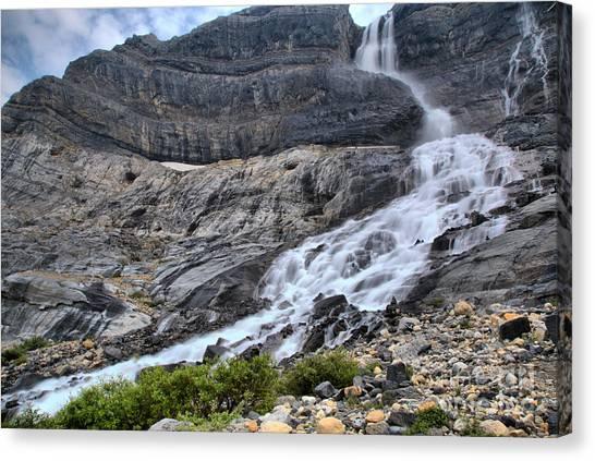 Canada Glacier Canvas Print - Spring Flow At Bow Glacier Falls by Adam Jewell