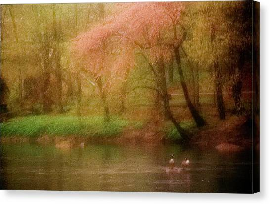 Spring Flowers And Ducks Canvas Print