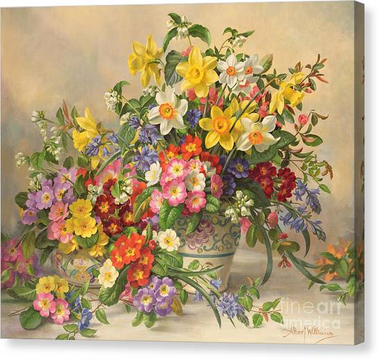 Rose In Bloom Canvas Print - Spring Flowers And Poole Pottery by Albert Williams