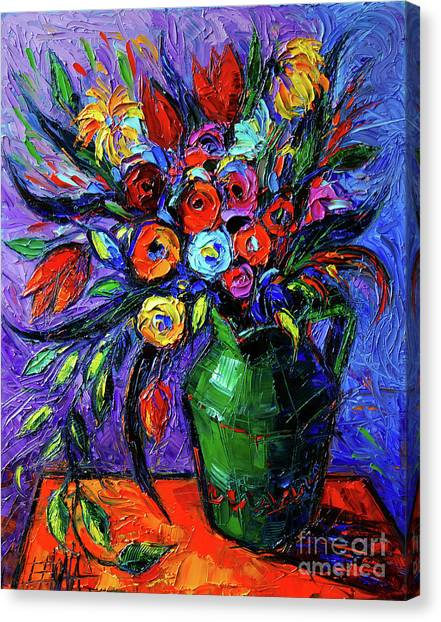 Post-modern Art Canvas Print - Spring Flowers In Green Jug by Mona Edulesco
